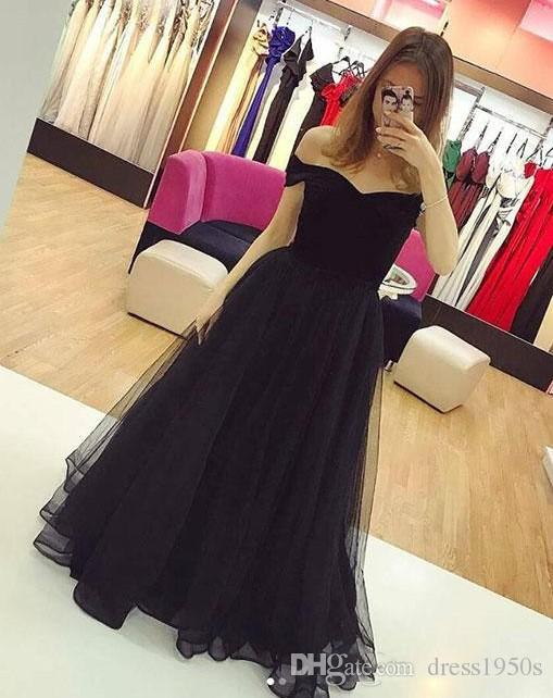 f2878063c75c 2019 Black Off Shoulder A Line Tulle Evening Dresses Simple Celebrity Party  Dresses Custom Made Long Prom Gowns Robes De Soiree Prom Style Dresses  Proms ...