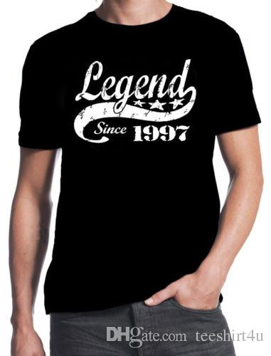 21St Birthday Legend Since 1997 21 Years Old Gift Idea Son Present Black T Shirt MenS Short Sleeve Cheap Price Brand 7 Funny Rude Shirts