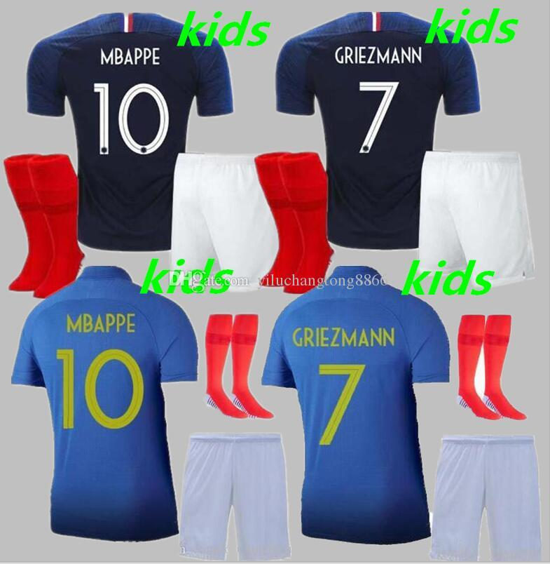 free shipping 6924f bd668 1919 2019 Two stars 2 GRIEZMANN MBAPPE Kids FFF France soccer jersey boys  child Centenary POGBA football shirt maillot de foot 19 20