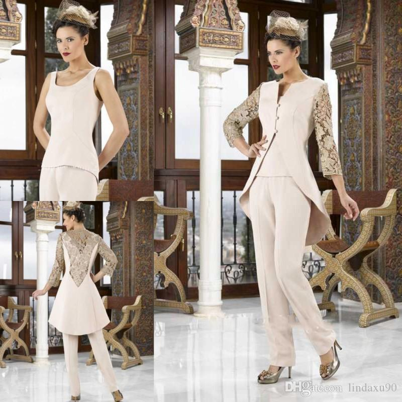 c9f7e30dfb3f Elegant Jumpsuits Mother Of The Bride Pant Suits With Jacket Lace Wedding  Guest Dress Plus Size Custom Made Mothers Groom Dresses Mother Of The Bride  Gown ...