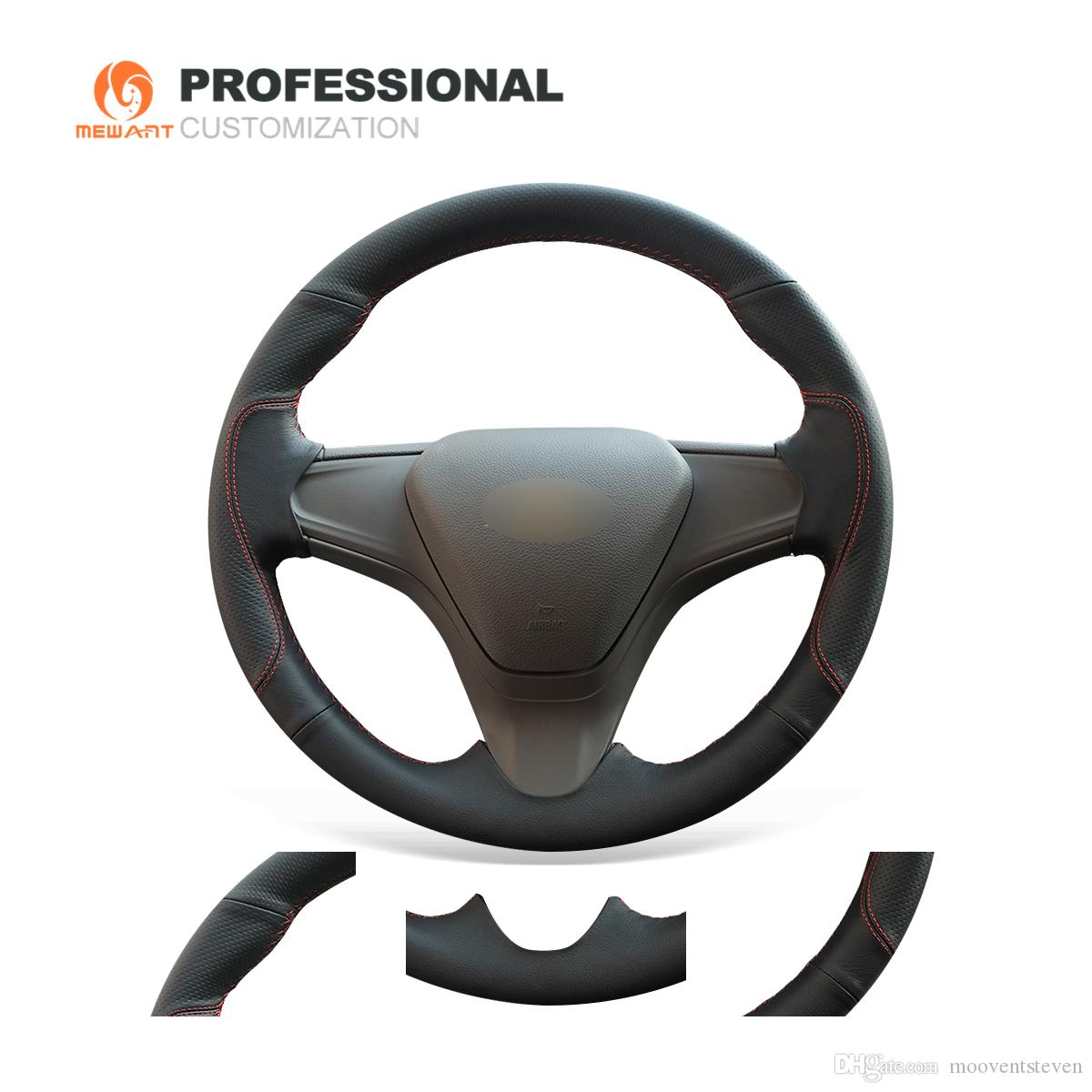 Mewant Custom Diy Black Genuine Leather Steering Wheel Cover Wrap For Chevrolet Cruze 2015 2016 2017 2018 2019