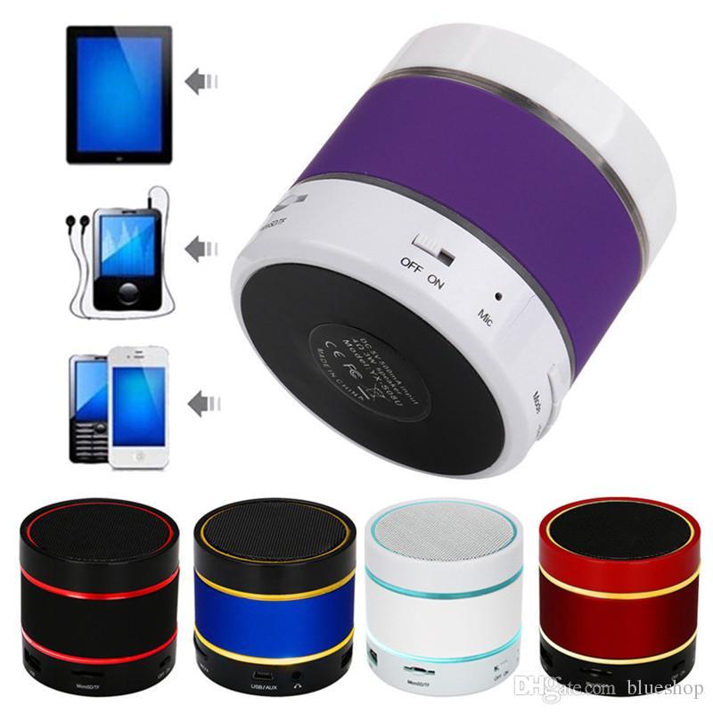 Hot LED Speaker S09 Altavoz mejorado 3 LED Light Ring Super Bass Mini portátil Beat Hi-Fi Bluetooth 4.0v Manos libres