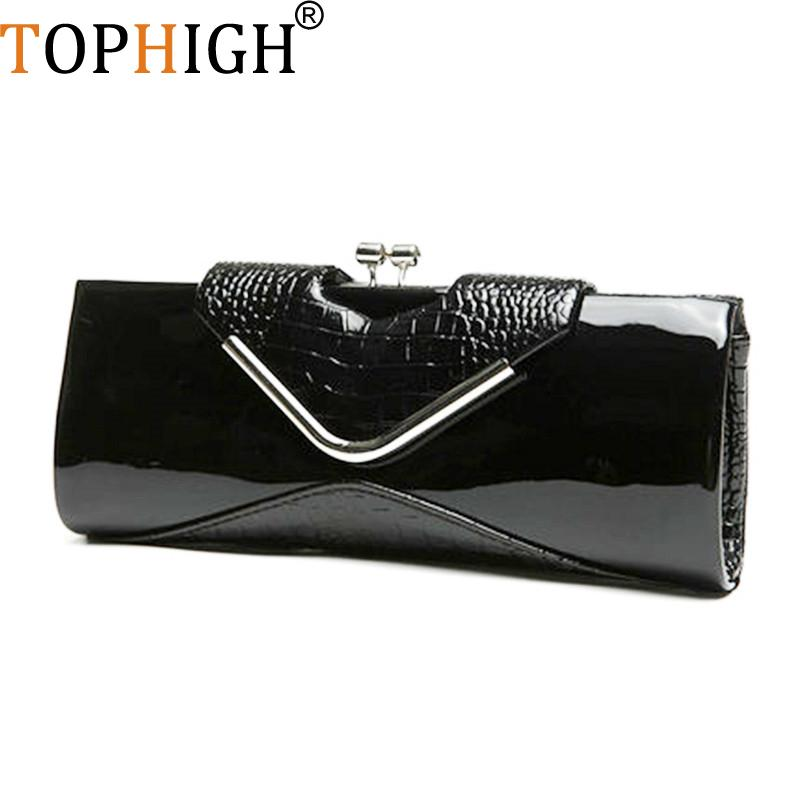 7e29c324d2d1 TOPHIGH Handbag New Crocodile Pattern Clutch Bright Handbags Patent ...