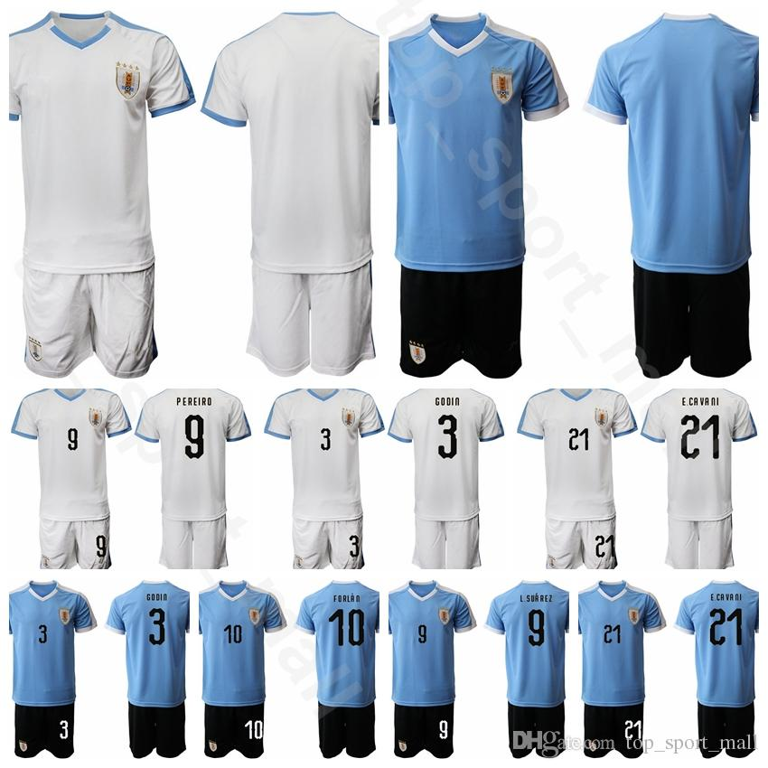 factory authentic 19f61 6f311 2019 2020 Uruguay Men Soccer 21 Edinson Cavani Jersey Set Home Blue White 9  Luis Suarez 3 Diego Godin Football Shirt Kits Unifrom