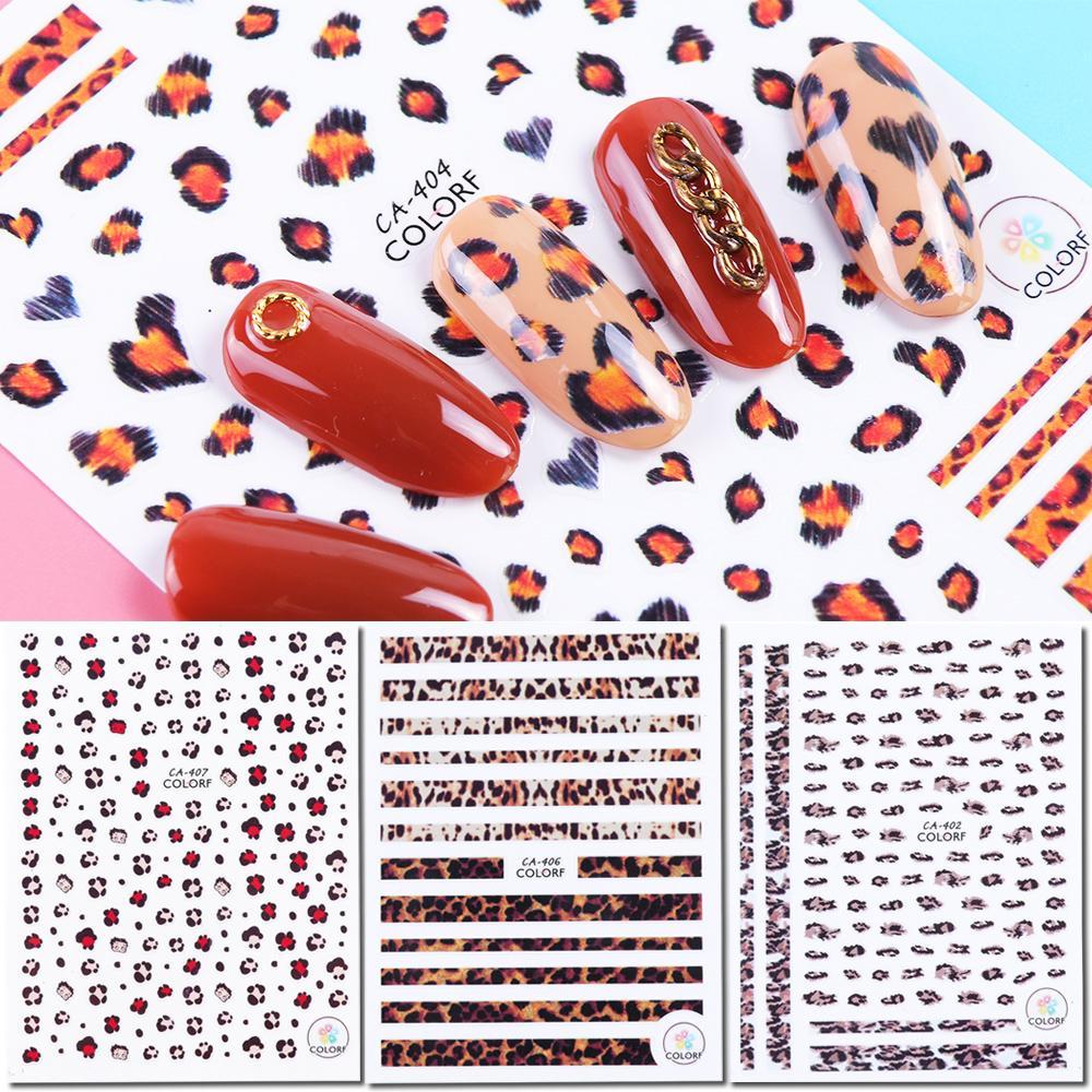 9pcs 3D Adhesive Decals Leopard Nail Art Stickers Sexy Spot Tattoos Nail  Wraps Foils Slider Manicure Decoration JICA401-409-1