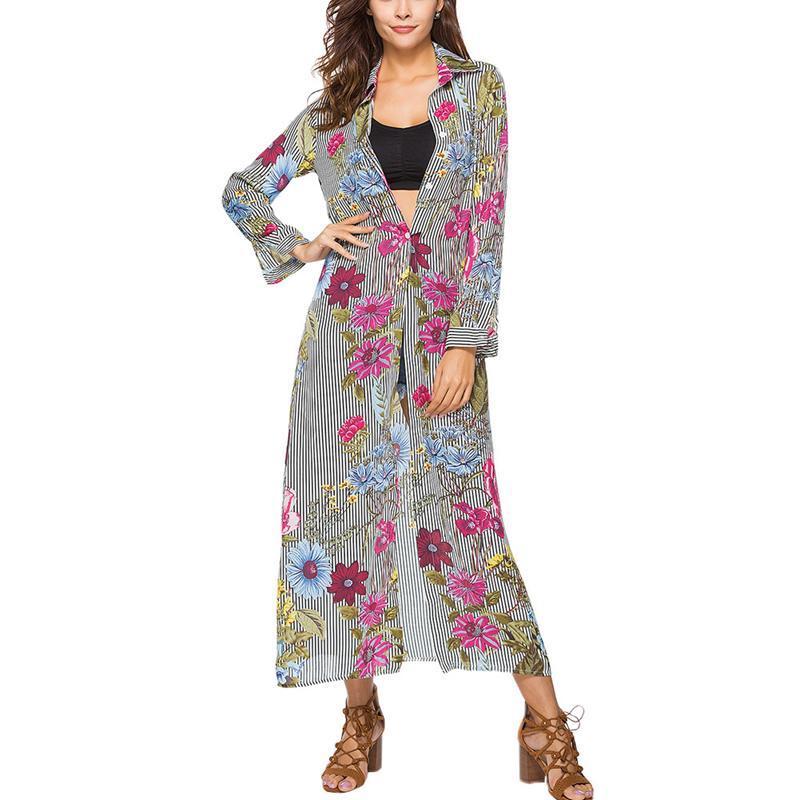 110b112f4c1d 2019 New Women's Striped Floral Print Long Blouse Button Down Long Sleeve  Cardigan Chiffon Dress