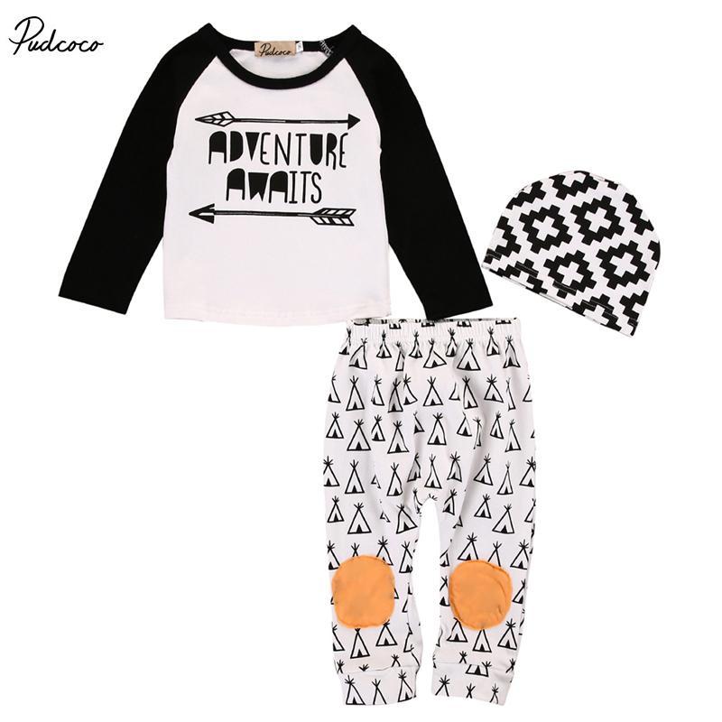 11fc1cd1e2ac 2019 Newborn Kids Baby Girl Boy Letter Arrows Clothing Sets Infant ...