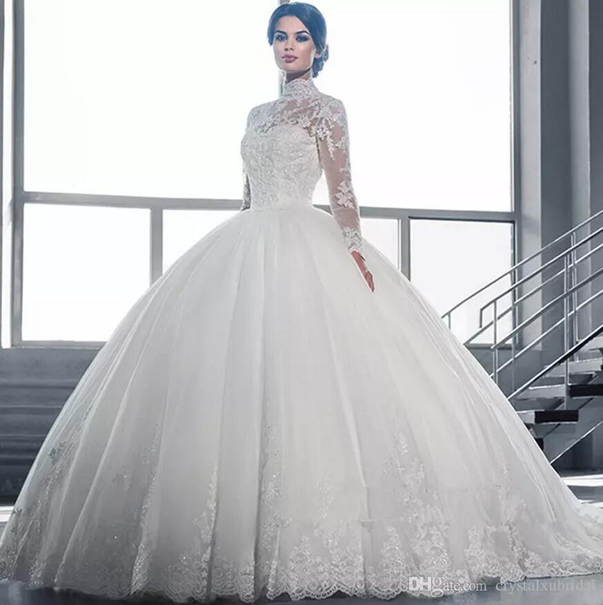 2019 Cheap Vintage High Neck Puffy Ball Gown Wedding Dresses Arabic Illusion Lace Applique Crystal Beaded Button Back Formal Bridal Gowns
