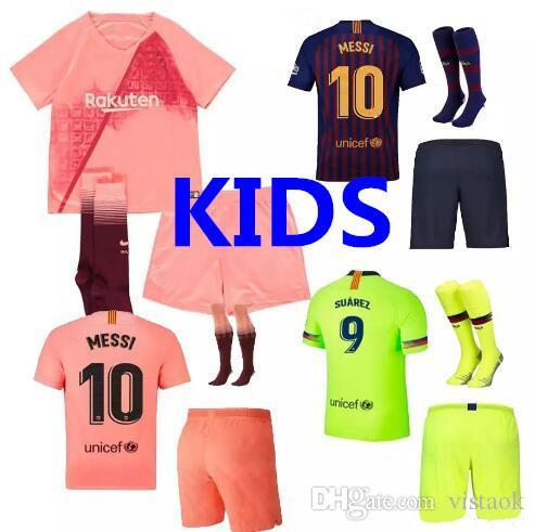 2018 2019 BSLN Kids Kit MESSI 9 SUAREZ 7 COUTINHO Soccer Jersey 18 ... c92a8e8d864a1
