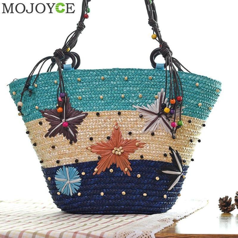156228b788 Women Beach Bag New Summer Fashion Holiday Woven Handbag Girls Hawaii  Starfish Pattern Shoulder Bag Zipper Starry Straw Bags Sac D19011204 Black  Leather ...
