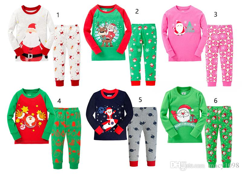 6ed101960649f baby girls boys suit Santa Claus set Tshirts Pants/lot cotton kids Clothes  Suits 2-7T christmas gifts 2pieces