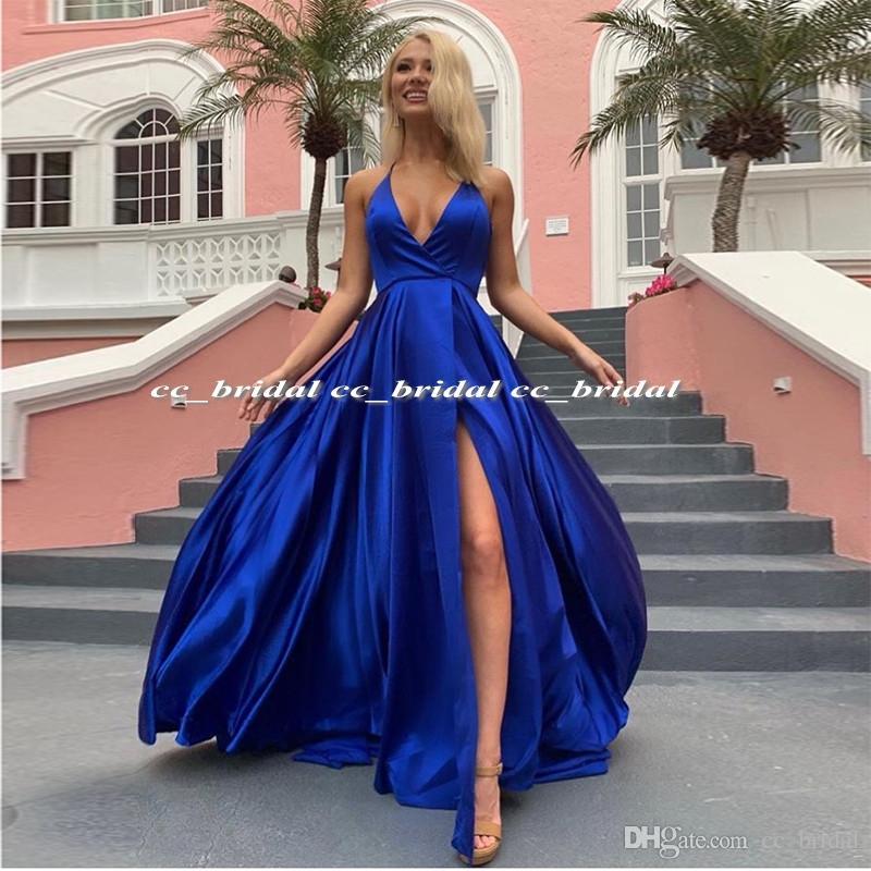 da5afe30abd Chic Royal Blue Prom Dresses 2019 New Elegant Long Side Split Dress Evening Wear  Plus Size Cheap Sale Girls Formal Pageant Gala Jurke Cheap Prom Dresses ...