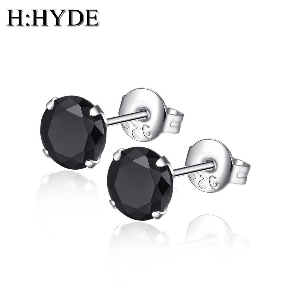 H: هايد جولة أقراط للنساء فاخرة الأعلى واضح زركونيا المعبدة اللون الفضي brincos مجوهرات الزفاف القرط