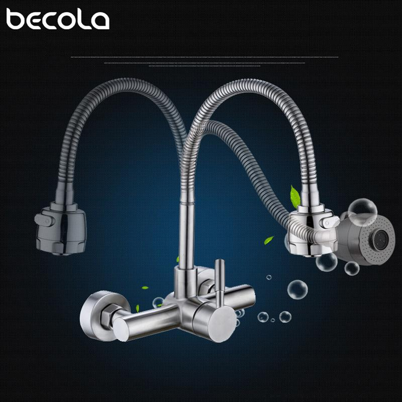 Stainless steel Wall Mounted Kitchen Faucet Wall Kitchen Mixers Sink Tap 360 Degree Swivel Flexible Hose Double Holes
