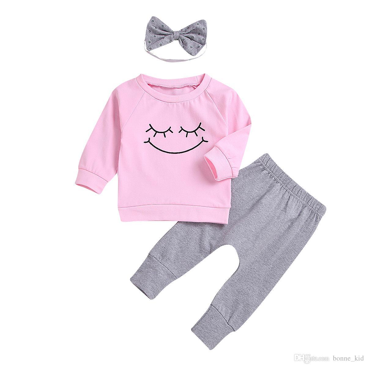 4ea7686d6a9a6 Acheter Bébé Fille Vêtements Sourire Rose Tops Pantalon Bandeau Tenues 3  Pièces Un Ensemble Belles Filles Bébé Enfant Vêtements Costumes En Gros De   10.86 ...