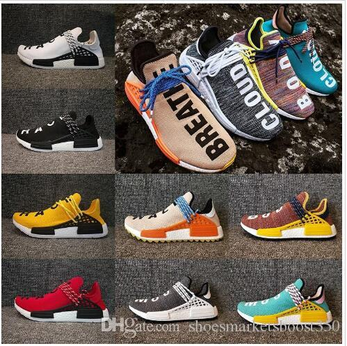 2018 designer Human Race Hu trail Casual shoes Men Women Pharrell Williams Yellow noble ink core Black Red Runner Sneaker Shoes 36-47