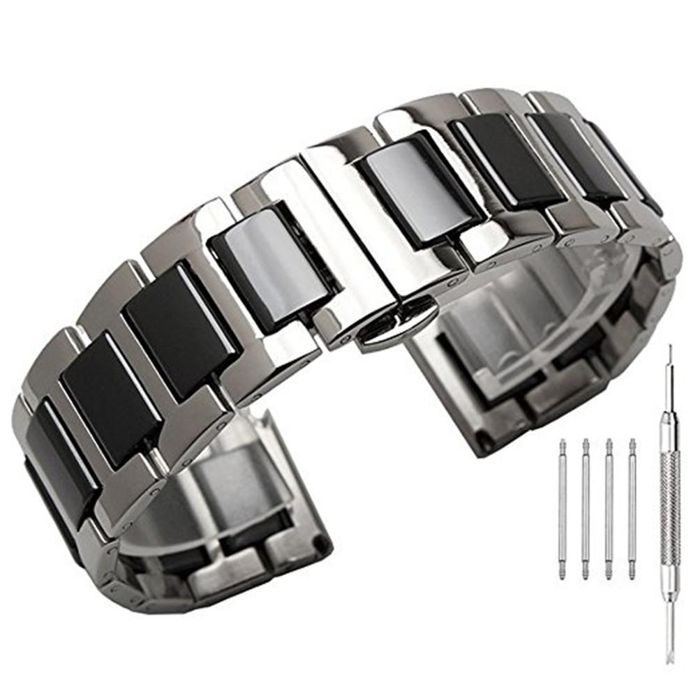 22mm Folding Buckle Stainless Steel With Ceramic Replacement Bracelet Strap For Samsung Gear S3 Frontier / Classic Watch Band T190620