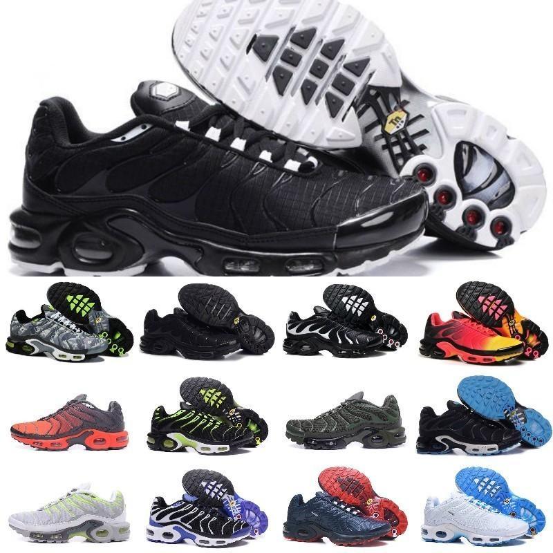 size 40 148fa 5bfca Acheter 2019 New Air Tn Chaussures Pour Hommes Design Tn Plus Chaussures De  Sport Pas Cher Tn Requin Respirant Maille Noir Blanc Rouge Baskets Trainer  ...