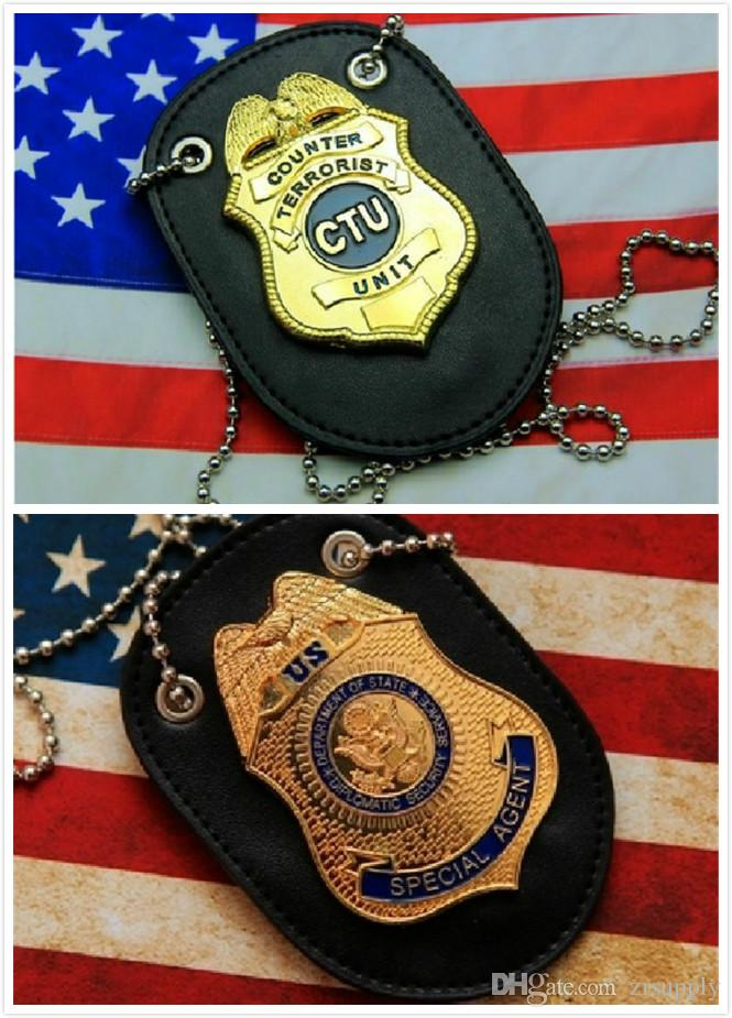 Stock in USA Special Agent D S S Fast Furious Luke Hobbes Badge With Holder  / CTU Special Agent Prop Badge & LEATHER HOLDER