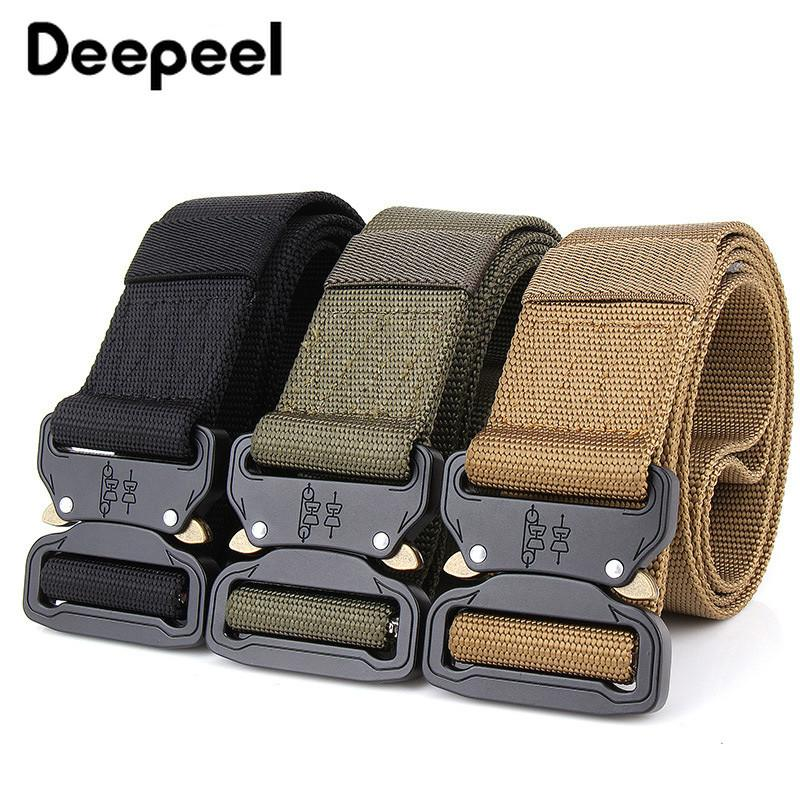 Deepeel 1pcs 45mm*125cm Quick Release Buckle Safety Nylon Belt Metal Hook  DIY Outdoor Sports Tactical Belt Accessory BD477