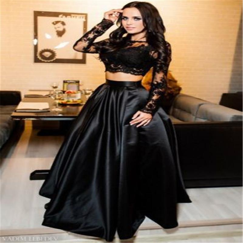97f9306e57 Compre Vogue Vestido Para Dama Encaje Negro See Through Manga Larga Crop Top  Palabra De Longitud Falda Larga Mujeres Formal Fiesta De Baile Conjunto De  ...