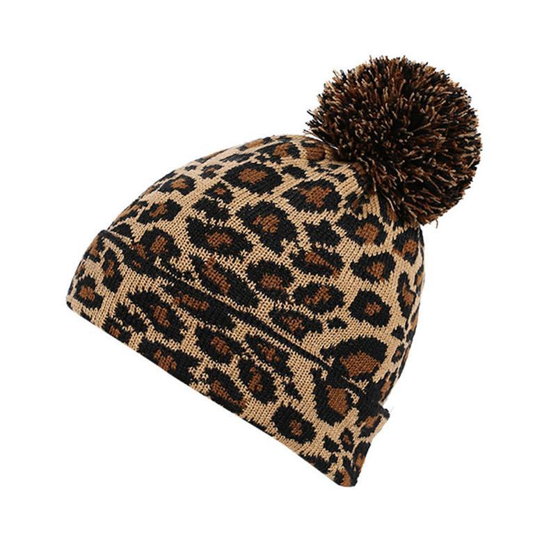 36a4d2007d3a9e 2018 Adult Unisex Women Men Winter Leopard Crochet Hat Knit Hat Beanie  Hairball Warm Cap Yellow,Pink Color Crochet Hats Headwear From Wonderliu,  ...