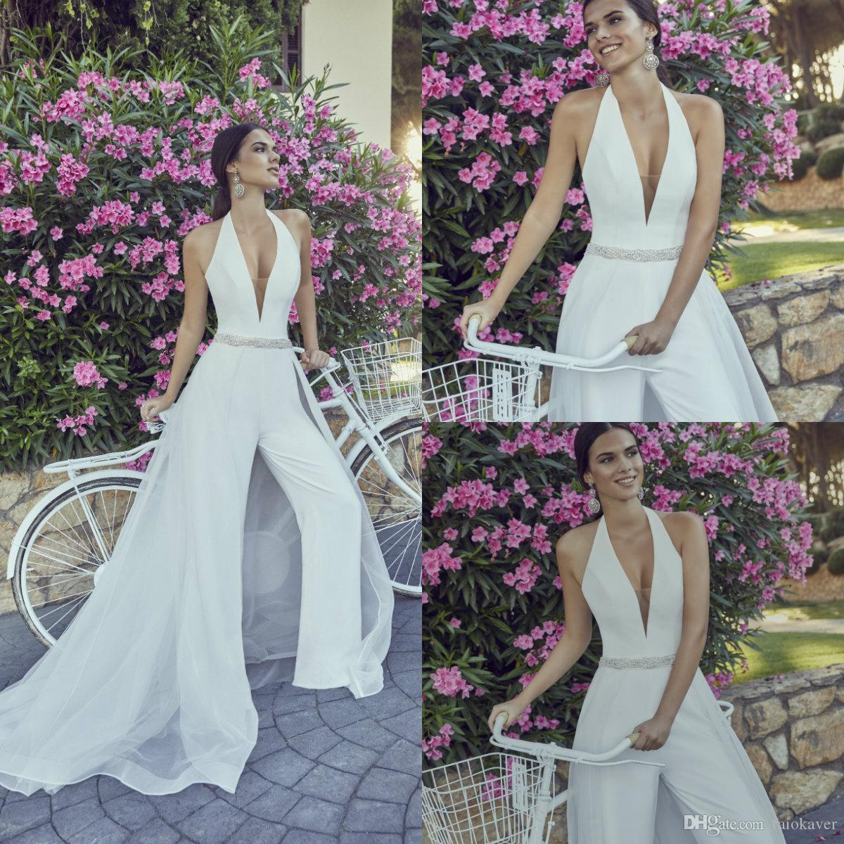 2019 Satin Wedding Jumpsuits With Detachable Train Deep V Neck Sash Beads Ankle Length Bridal Dress Custom Made Beach Garden Wedding Gowns