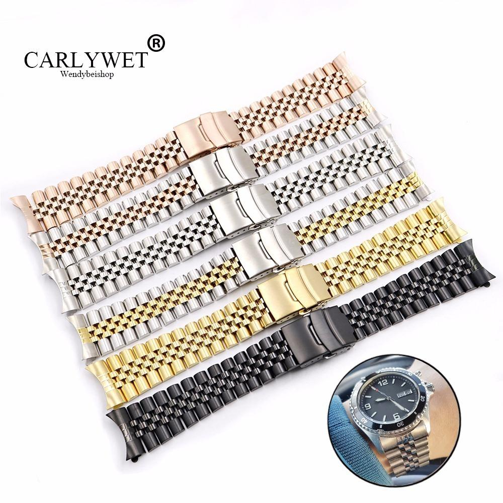 Carlywet Wholesale 19 20 22mm Hollow Curved End Solid Screw Links Replacement Jubilee Bracelet Watch Band Strap For Dayjust T190620