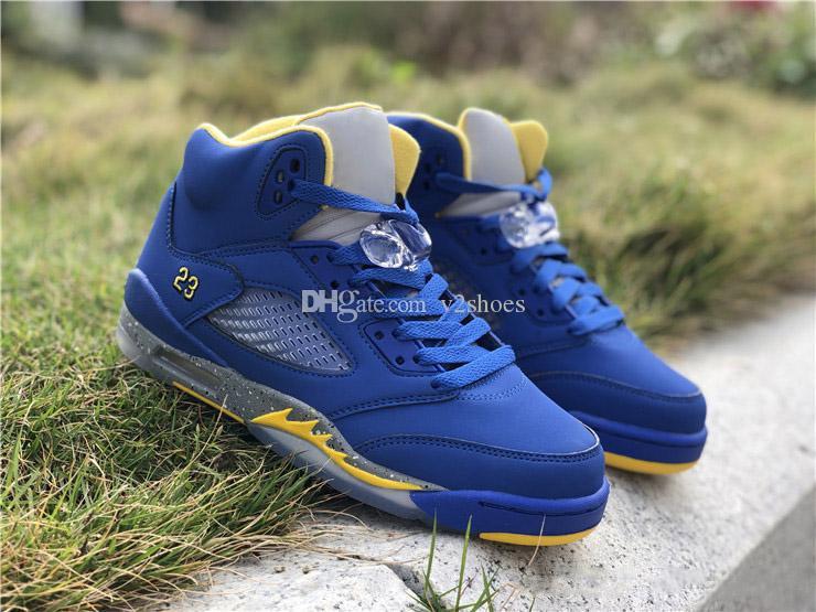 854d326356a2 2019 Newest 5 V Laney Men Retro Casual Shoes VARSITY Blue High ...