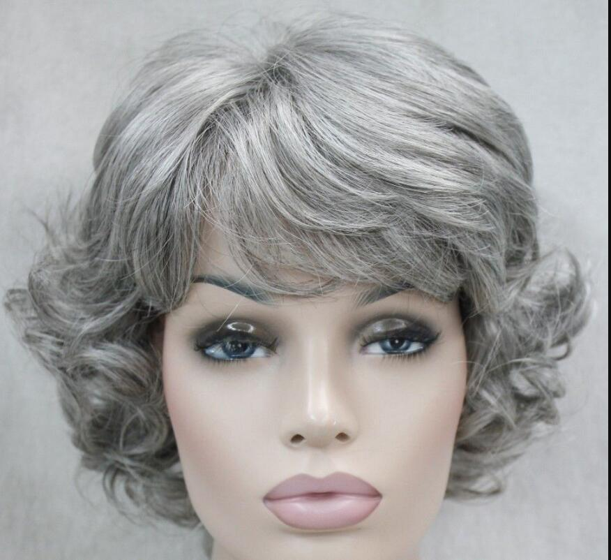 LL FREE SHIP>>>Grayish-white Short women elderly Ladies Daily Fluffy Synthetic Wig FYTLD175 Hivision