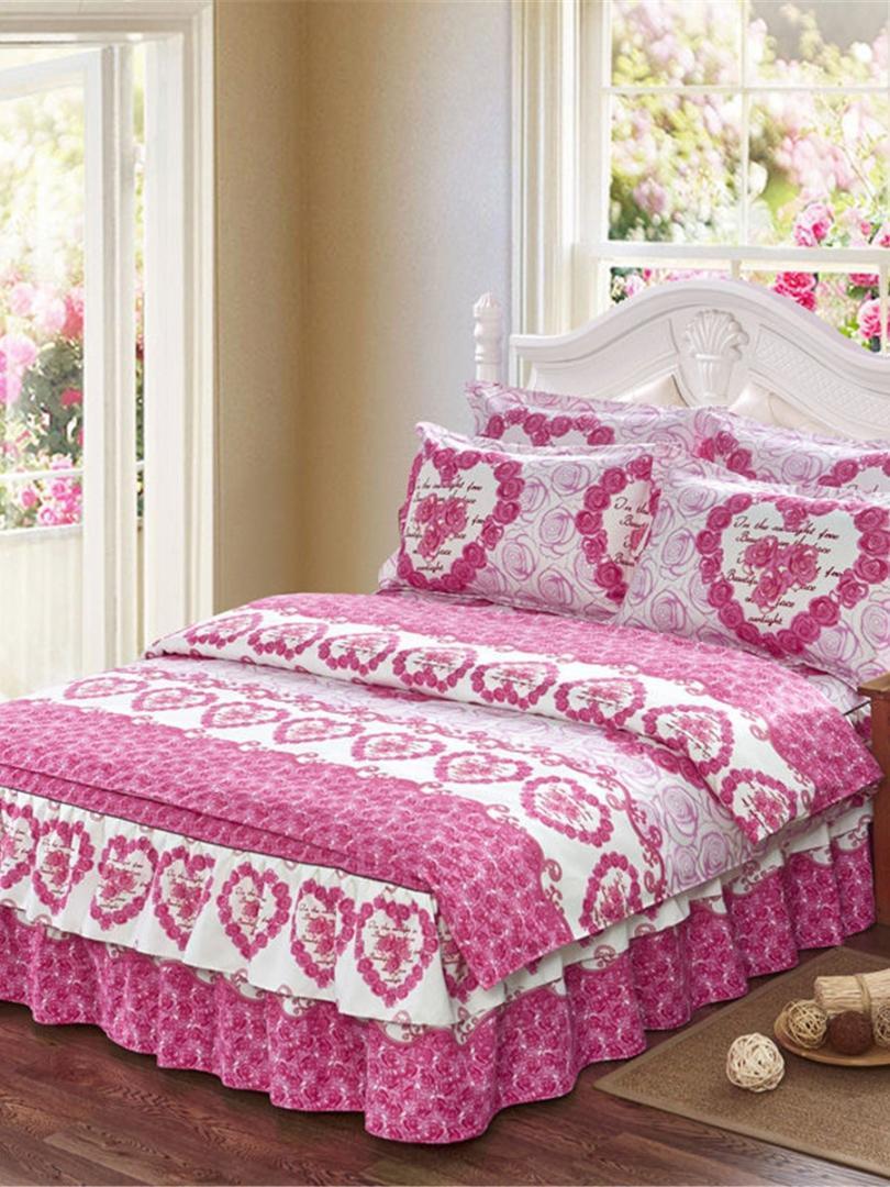 4pcs ensemble de housse de couette romantique rose motif épaissir ensemble  de literie confortable