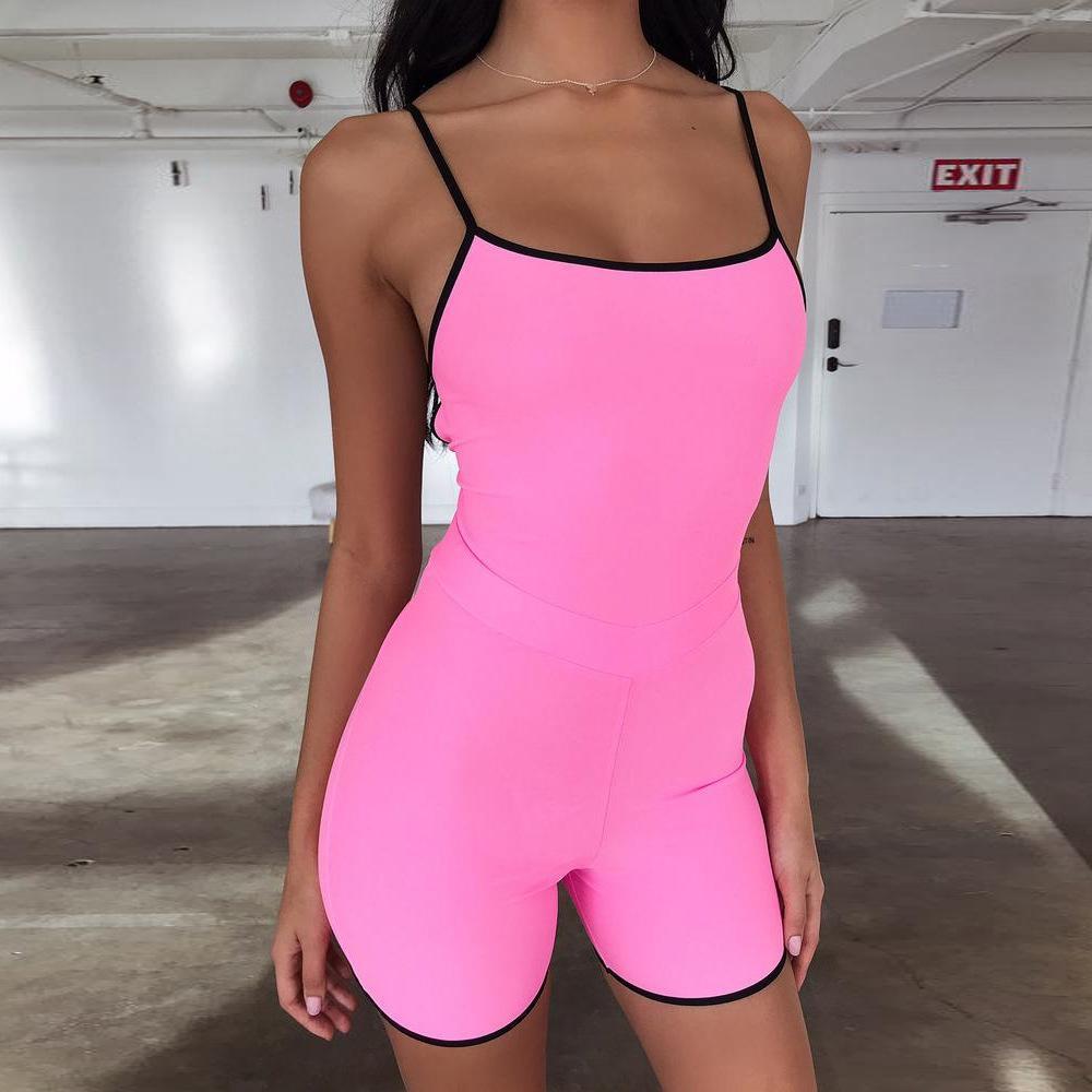 new concept 2ede9 59b59 2019 Cute Pink Playsuit Donna Sexy Backless Body Donna One Piece Body Moda  casual Abbigliamento femminile Abbigliamento estivo Vendita calda