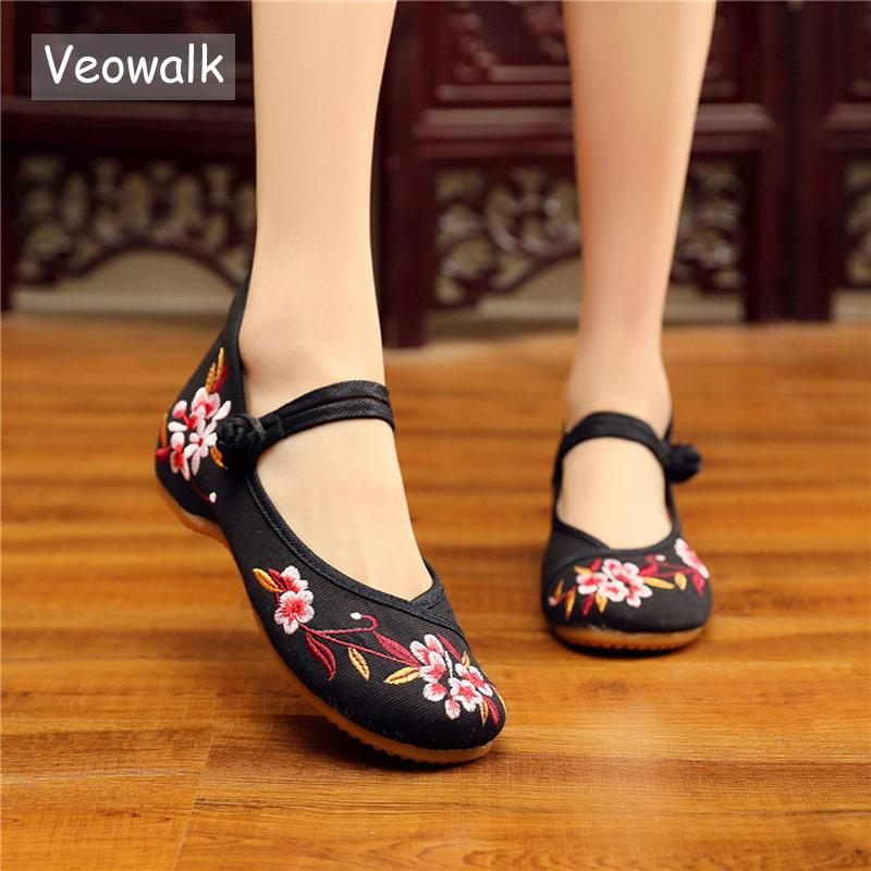 3fe6a701c Veowalk Chinese Flowers Embroidered Women Canvas Mary Janes Flats Retro Ladies  Comfort Cotton Walking Shoes Soft Mother Shoes Suede Shoes Shoe Sale From  ...