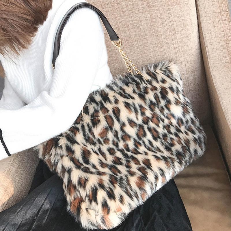 a8443313e3ed 2019 New Winter   Autumn Luxury Faux Fur Women Mink Fur Bag Leopard Print Shoulder  Bag Ladies Fur Tote Handbag Chain Bags 243 Pink Handbags Branded Handbags  ...