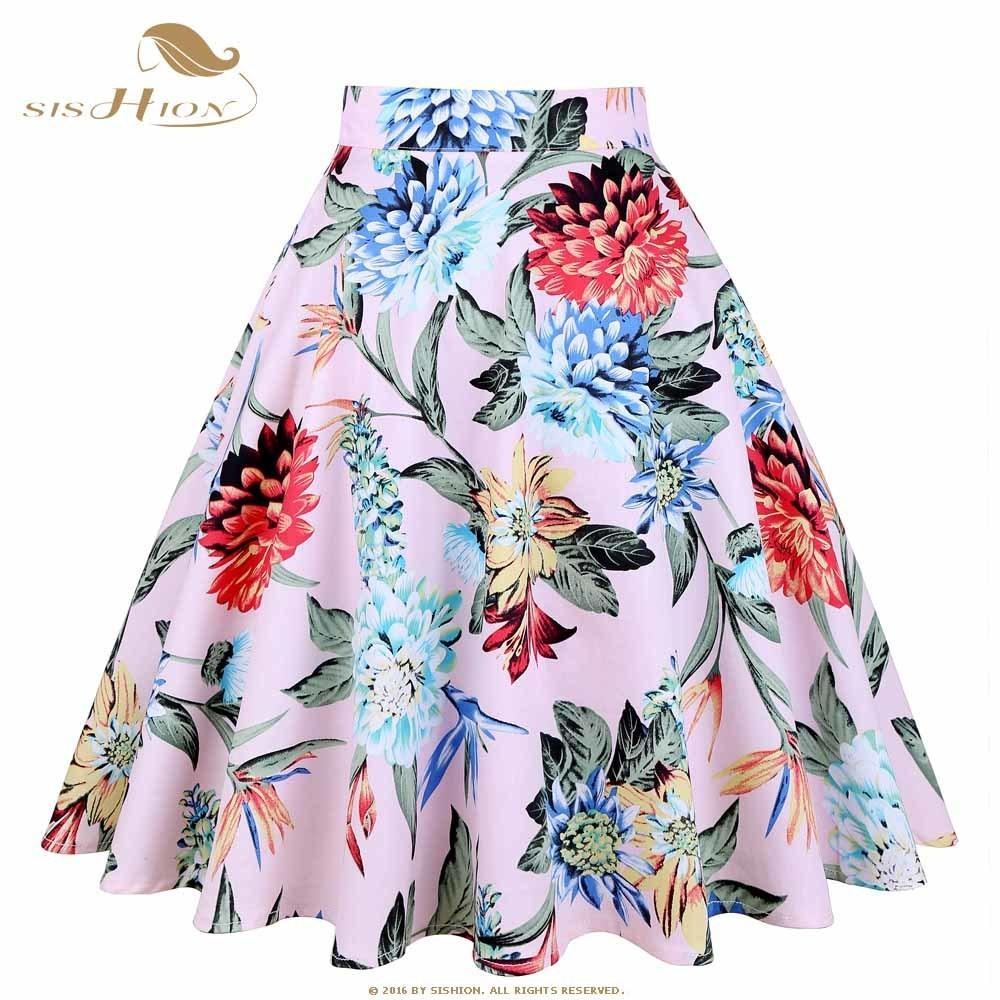 online retailer 862ec 7a644 Sishion Design Floral Rock Damen Hohe Taille Plus Size Weiß Rosa Grün Blau  Damen Röcke Skater 50er Jahre Vintage Plaid Rock C19041601