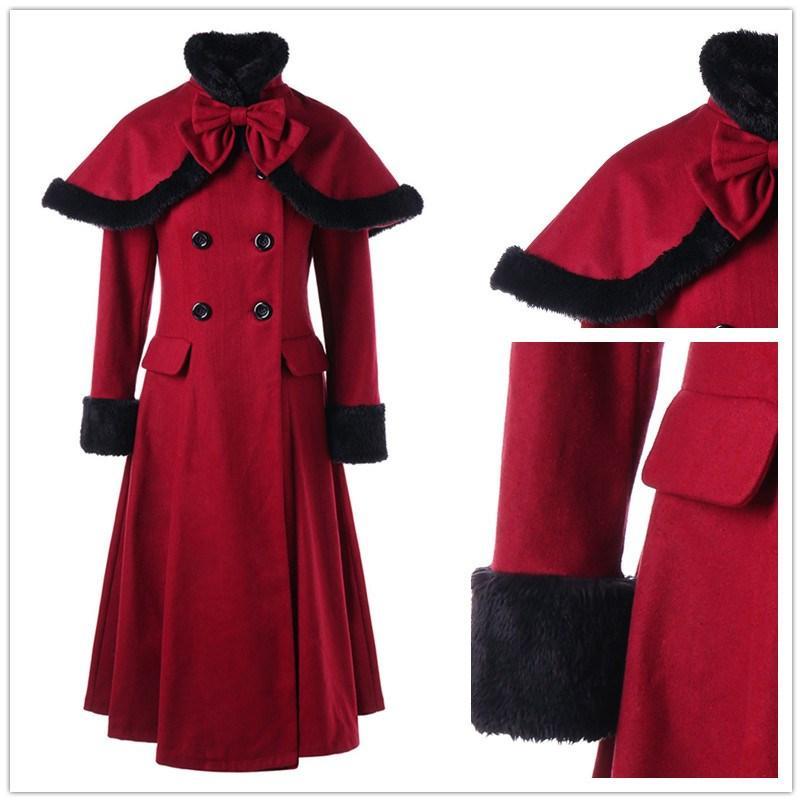 check out 72c88 72817 Cappotto donna Cappotto doppio petto Cappotto invernale femminile Giacca  lana ispessita Giacca rossa con lacci Outwear