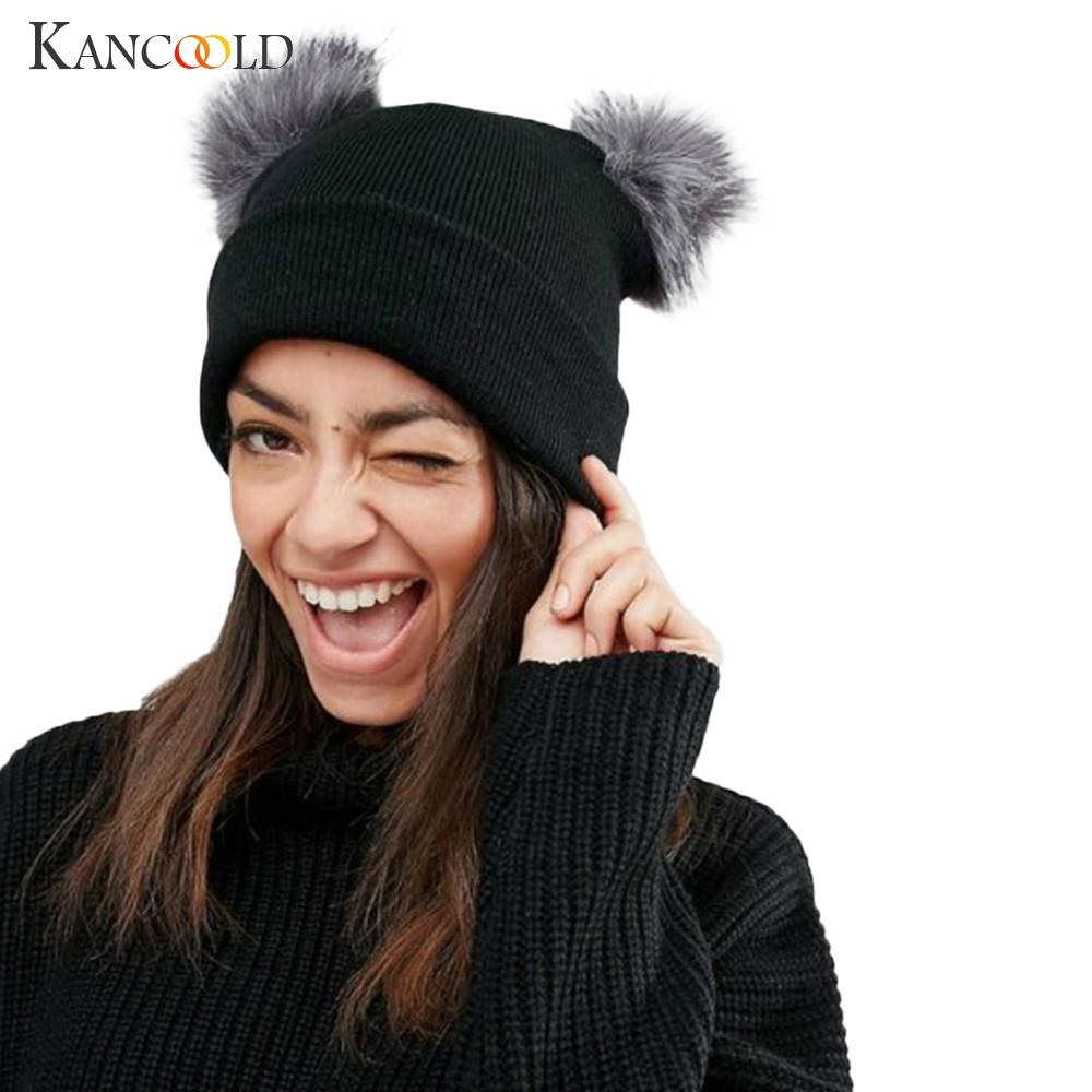 KANCOOLD Hat Women Winter Warm Crochet Knit Double Faux Fur Pom Pom Beanie  Cap High Quality Fashion Hat Women 2018NOV16 Black Baseball Cap Knitted Hats  From ... aedb8fe387