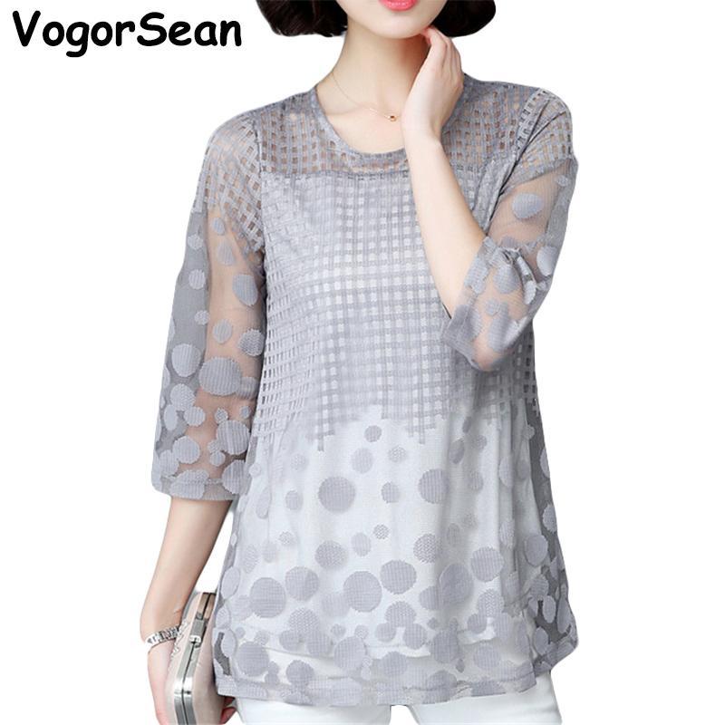 bb8c12974e0ff6 2019 VogorSean Women Elegant Summer Tops Blouse Shirts Loose Chiffon Lace  Shirts Blouses Plus Size Vetement Femme Blusas Camisa New From Bidalina