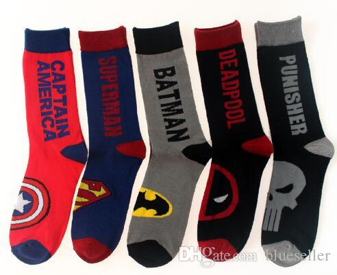 ce210d208b03 New Fashion Funny Cute Avenger Union Sock Men Colored Superhero Superman  Hulk Cartoon Art Happy Male Dress Cotton Socks Online with  2.29 Pair on ...