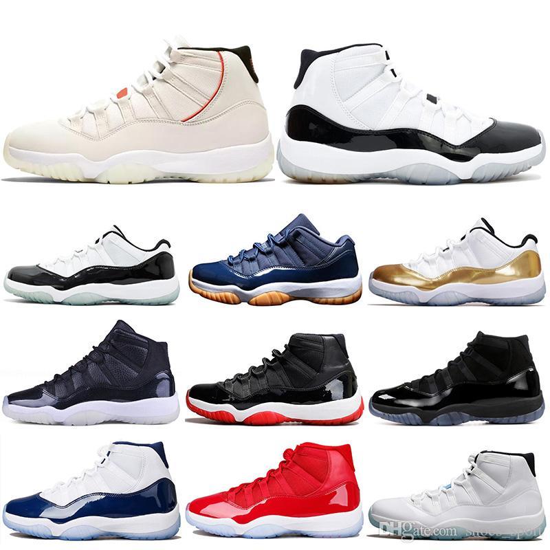 new styles 9bdd7 6b820 Compre Air Jordan 11 Retro AJ11 Nike 11 11s Platino Tint Zapatillas De  Baloncesto Para Hombre Gorra Y Bata Vestido Noche Gimnasio Red Bred Barons  Concord 45 ...