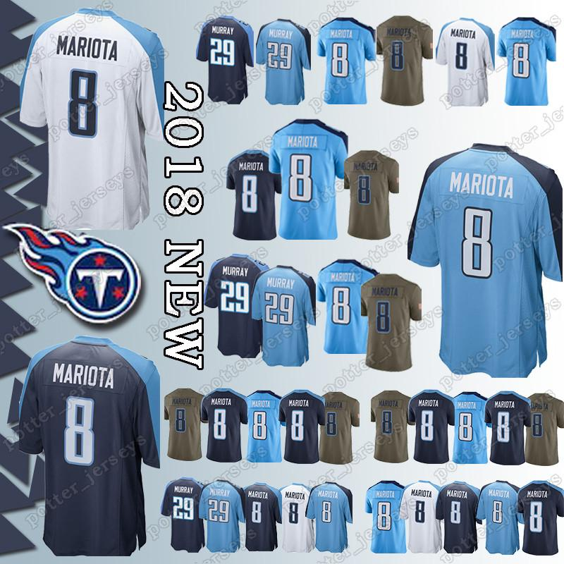 separation shoes c059d bde08 Cheap sales Tennessee Titan Jerseys 8 Marcus Mariota Jersey Adult shirt Top  quality t shirt Free Shipping promotion