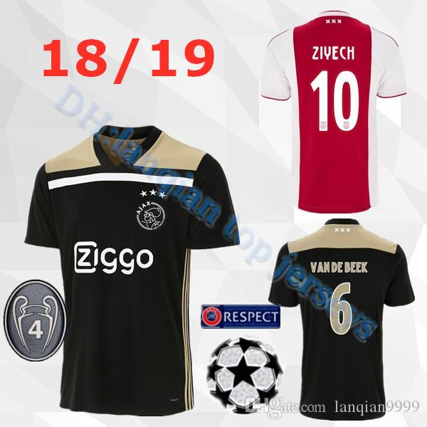 various colors 4e2f7 68a2b Ajax home red white Soccer Jerseys 18/19 Ajax away Soccer Shirt 2019 #10  TADIC #21 DE JONG #25 DOLBERG #22 ZIYEC football uniform size S-2XL