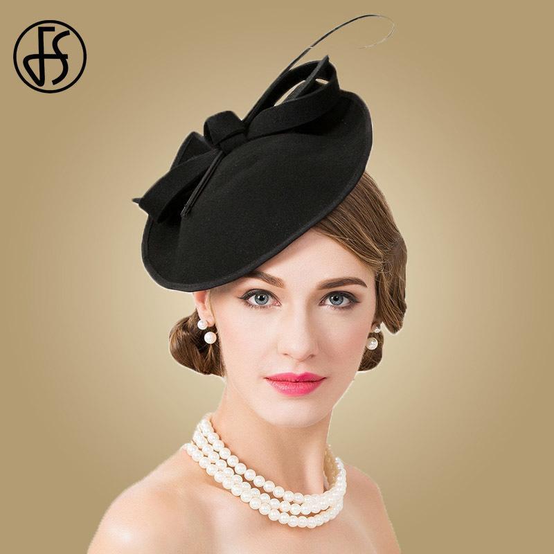 Compre FS 100% Lana Iglesia Sombrero Para Las Mujeres Negras Elegantes  Fascinators Formales Fieleros De Finaas Vintage Señoras Sombreros De La Boda  Caja De ... 91194e84c96