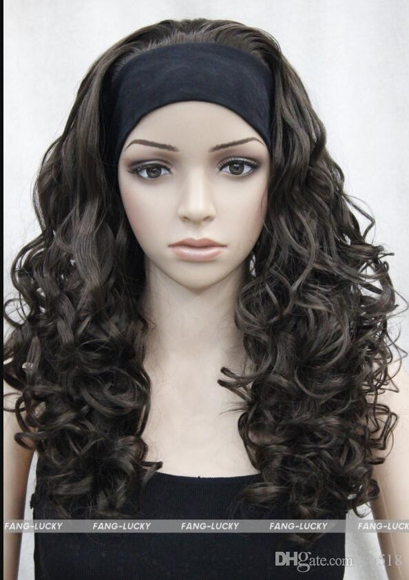 WIG LL NEW STYLE Free Excelente Brown Dark Long Curly women Daily 3/4 media peluca con diadema