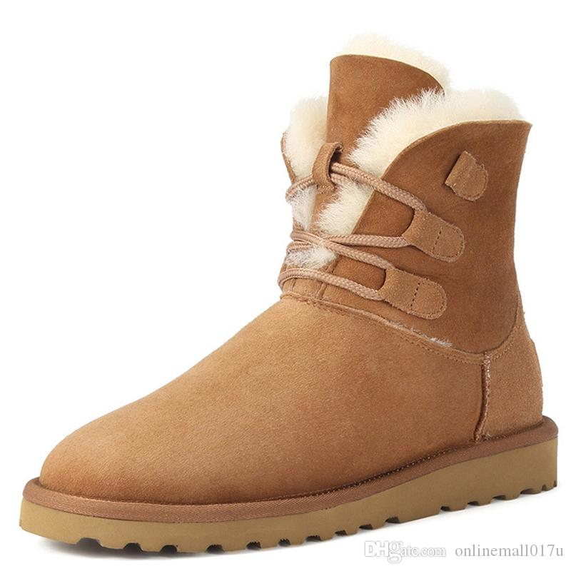 1cf55e6702b50 Female Winter Genuine Leather Natural Real Sheepskin Fur Wool Snow Boots  Furry Eskimo Booties Snowshoe Ski Shoes for Women Mini Online with  $81.99/Piece on ...