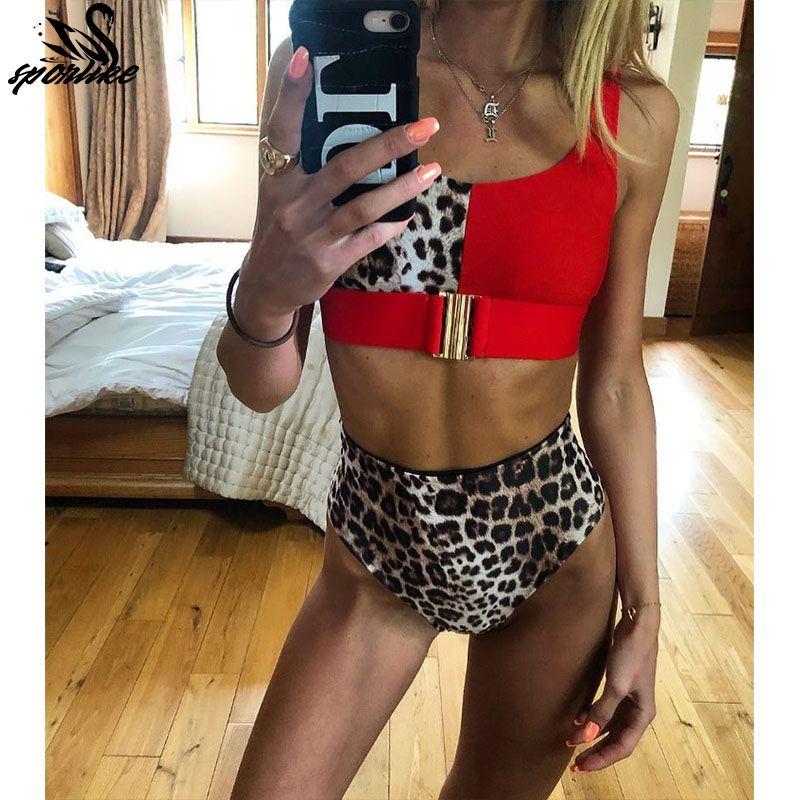 c19c40fb030 Sexy Red Leopard Bikini Set 2019 New High Waist Swimwear Women Swimsuit  Biquini Mujer Push Up Bathing Suits Beach Wear Swim