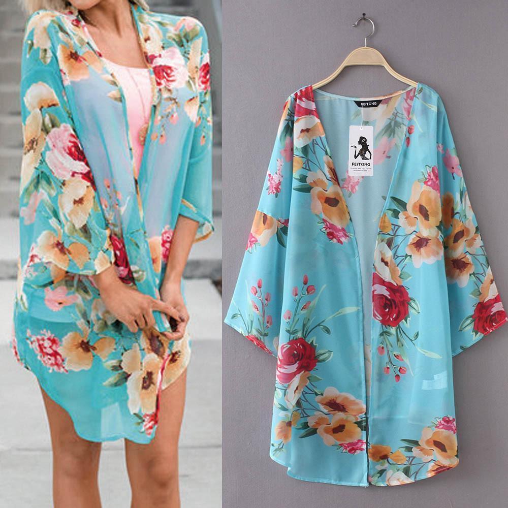 c21256d3208f S-3XL Tamaño Pluse Moda Para Mujer de Gasa Mantón Imprimir Kimono Cardigan  Top Cover Up Blusa Ropa de Playa Verano Ropa de mujer