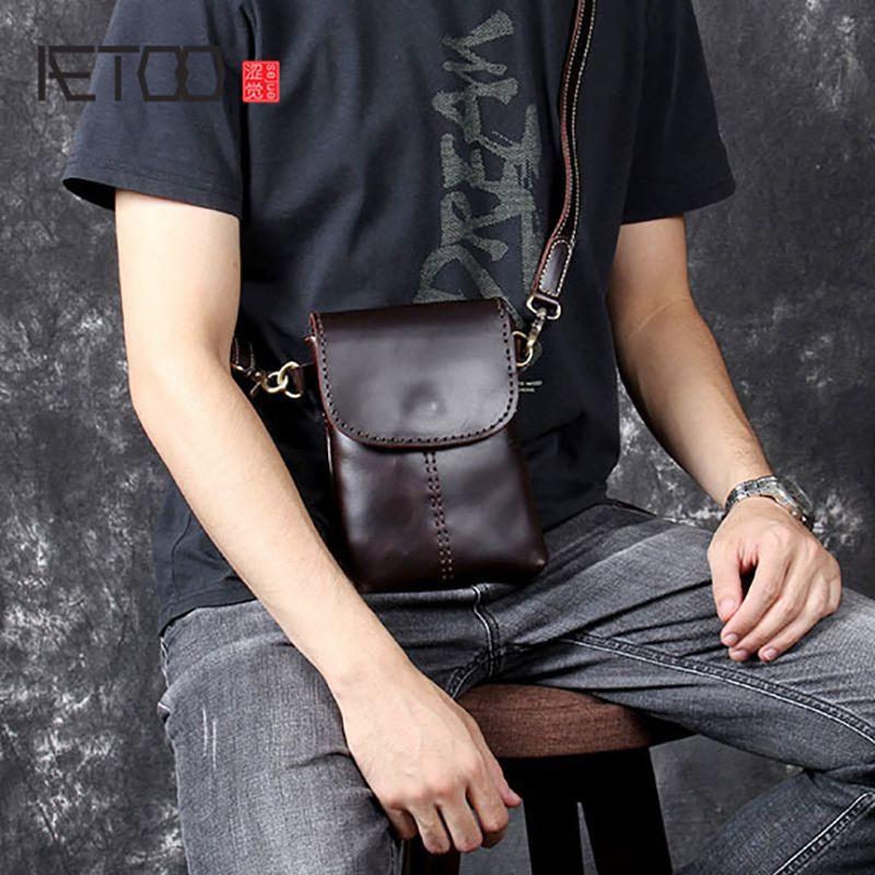 060665325a18 AETOO Retro Head Cowhide Men S Small Satchel Handmade Leather Shoulder  Crossbody Bag Mobile Phone Bag Shoulder Bags Leather Bags From Blacpink