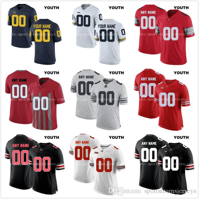 big sale 42681 eb8d7 Custom Youth Ohio State Buckeyes College Football Limited white red black  gray Personalized Stitched Any Name Number 16 Barrett Jerseys