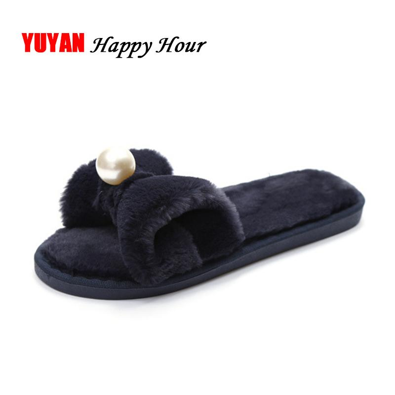 House Slippers Women Fur Slides Shoes Womens Slippers Warm Flat Winter  Indoor Pink Black Pearl Fashion Brand A358 Boys Slippers Acorn Slippers  From ... dcc05406d6